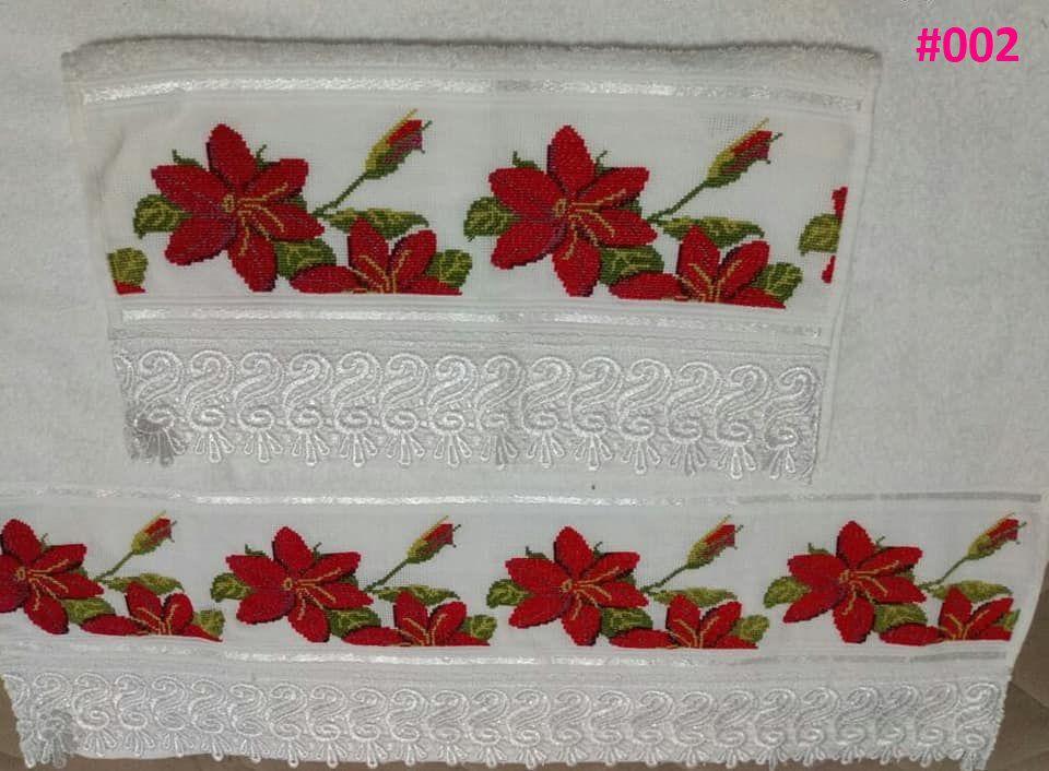 Jogo de Toalhas Floral Bordadas em Ponto Cruz