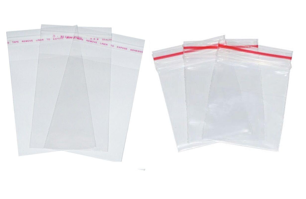 Kit Com 200 Saquinhos Adesivado e Zip Lock