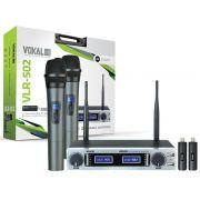 Microfone de Mão Sem Fio Vokal VLR-502, Duplo c/ Bateria Recarregável - UHF