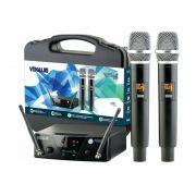Microfone Vokal VMS 12 UHF Sem Fio Multicanais - Duplo