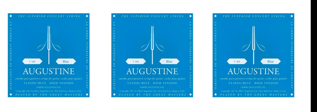 Kit com 3 Jogos de Corda Encordoamento Augustine Blue Azul High Tension Tensão Alta  - TranSom Áudio e Música