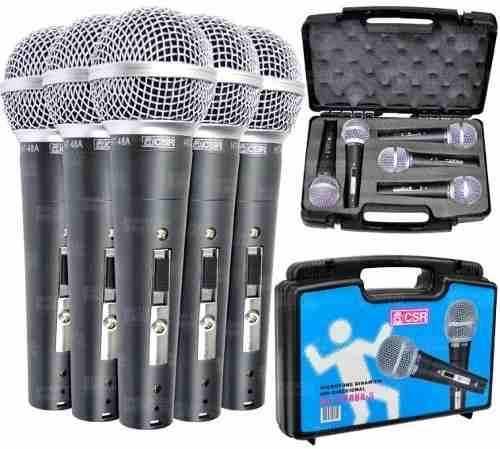 Kit de Microfone de Mão CSR HT48A-5 Dinâmico - Com 5 Microfones  - TranSom Áudio e Música