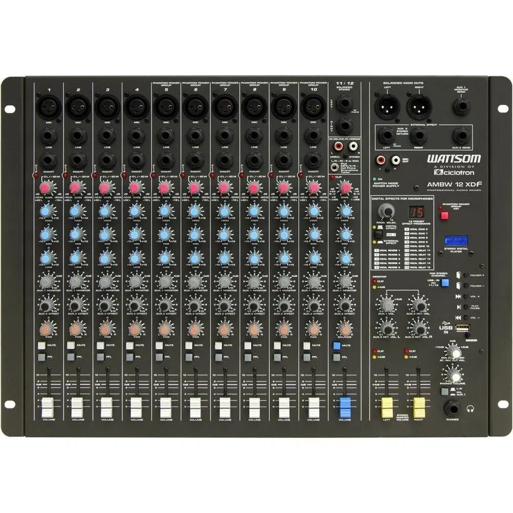 Mesa de Som Wattsom AMBW 12 XDF Ciclotron - Com USB e 12 canais  - TranSom Áudio e Música