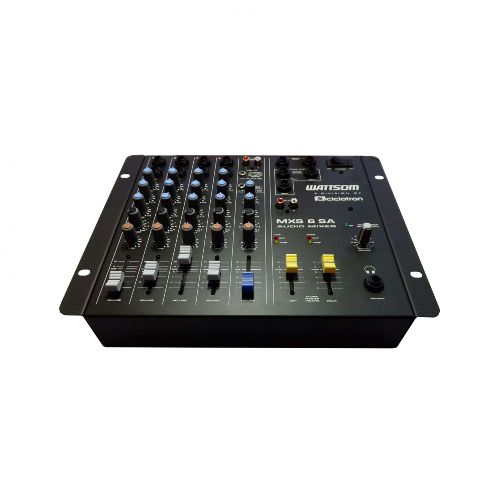 Mesa De Som Wattsom MXS 6 SA Ciclotron Analógica 6 Canais - Audio Mixer  - TranSom Áudio e Música