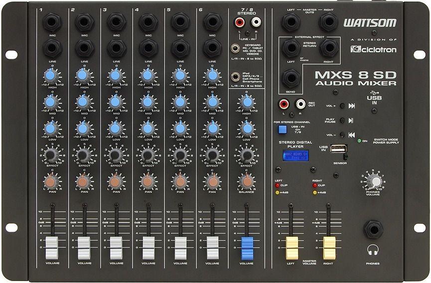 Mesa De Som Wattsom MXS 8 SD com USB Ciclotron Stereo 8 Canais - Audio Mixer  - TranSom Áudio e Música