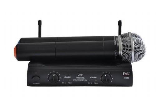 Microfone de Mão Sem Fio JWL U-585 UHF, Duplo  - TranSom Áudio e Música