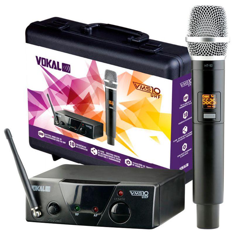 Microfone de Mão Vokal VMS-10 UHF 10 sem Fio  - TranSom Áudio e Música