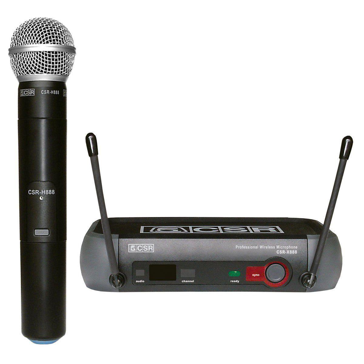 Microfone Profissional de Mão CSR-888 Sem Fio H888 / X888  - TranSom Áudio e Música