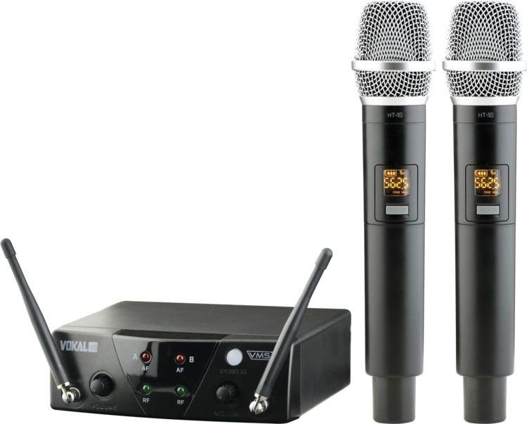 Microfone Vokal VMS 12 UHF Sem Fio Multicanais - Duplo  - TranSom Áudio e Música