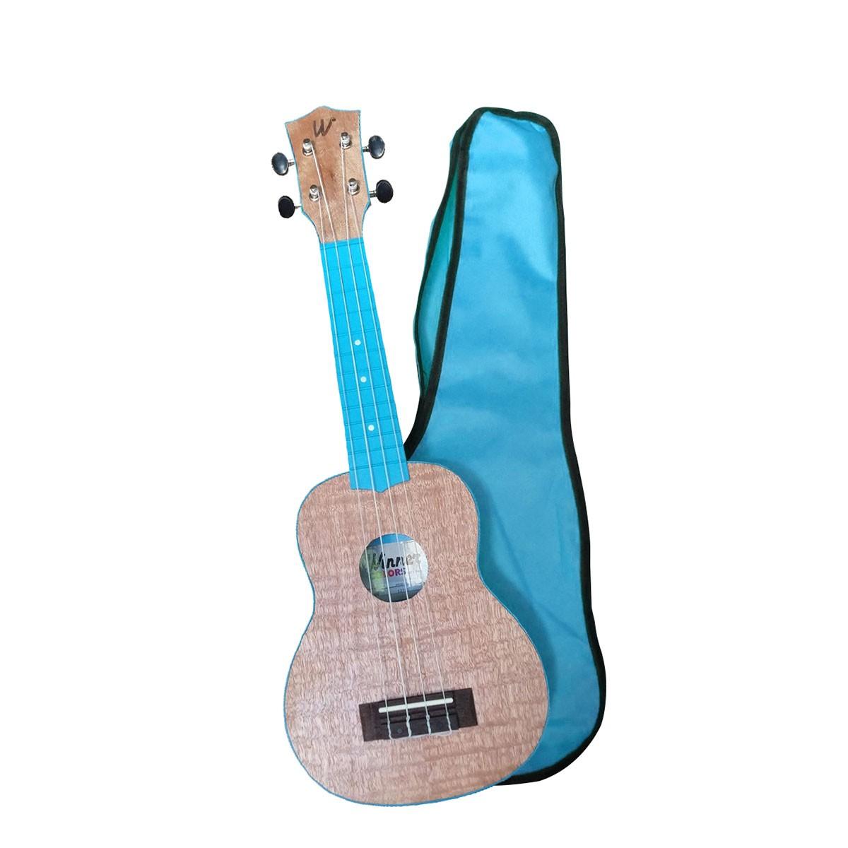 Ukulele Soprano 21 ABS Tampo Tipo Flamed Okume Azul Com Capa! - Color Series Winner  - TranSom Áudio e Música