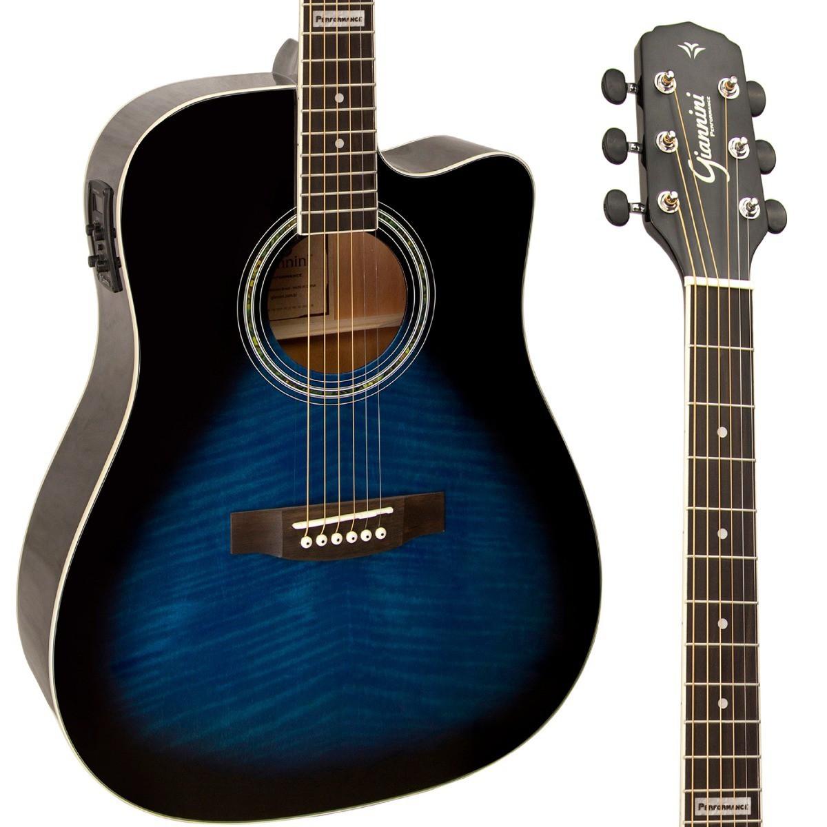 Violão Folk Giannini GF-1D CEQ - Cor Azul (Dark Blue Burst)  - TranSom Áudio e Música