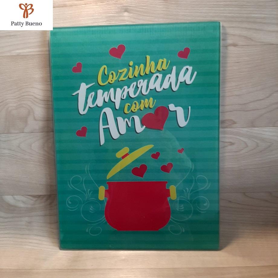 TÁBUA DE VIDRO TEMPERADO PARA COZINHA GRANDE 38 cm x 28 cm