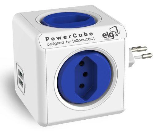 PowerCube Original PWC-R4U ELG Azul 4 Tomadas + 2 USB  - Central Suportes