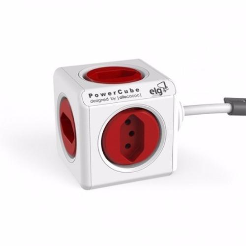 PowerCube Extended PWC-X5 ELG Vermelho 5 Tomadas com Cabo 1,5m  - Central Suportes