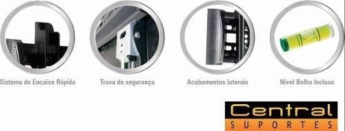 Suporte para TV Fixo de Parede LCD LED PLASMA 3D de 32 a 55 Perfil Slim N01V4 ELG  - Central Suportes