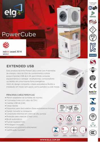 PowerCube Extended PWC-X4U ELG Cinza 4 Tomadas com Cabo 1,5m  - Central Suportes