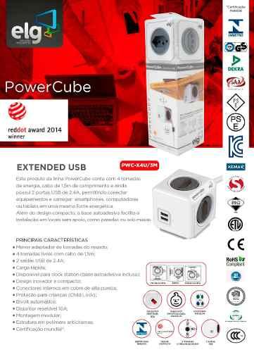 PowerCube Extended PWC-X4U/3m ELG Cinza 4 Tomadas + 2 USB com Cabo 3m  - Central Suportes