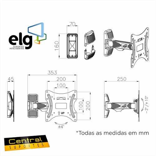 Suporte Articulado de Parede 15 a 32 LCD / LED A02V2_S New ELG  - Central Suportes