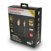 Cabo HDMI 2.1 8K Ultra High Speed Ethernet 2 metros HS8K20 ELG