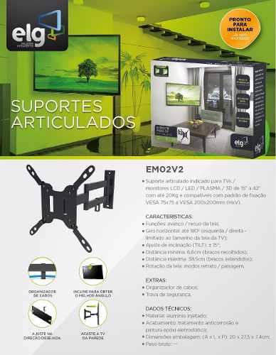Suporte Articulado para TV LCD LED PLASMA 3D de 15 a 32 EM02V2 ELG  - Central Suportes