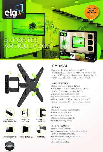 Suporte Articulado para TV de 26 a 55 EM02V4 ELG Preto  - Central Suportes