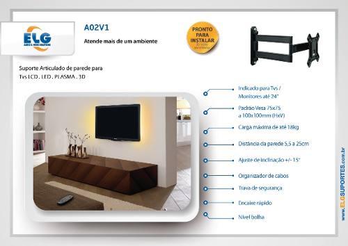 Suporte Articulado Tv Monitor 15 a 29 LCD LED A02V1 New ELG  - Central Suportes