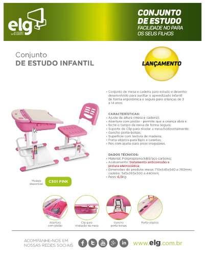 Mesa Infantil de estudo e desenho com Cadeira e baú C301 ELG Rosa  - Central Suportes