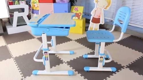 Mesa Infantil de estudo e desenho com Cadeira e baú C301 ELG Azul  - Central Suportes