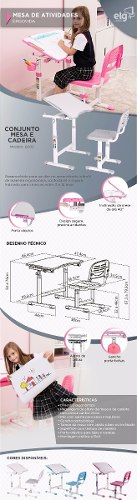 Mesa Infantil de estudo e desenho com Cadeira B202 ELG Cinza  - Central Suportes