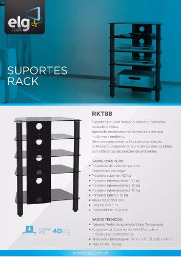 Rack Home Theater para Som RKT88 ELG - Central Suportes