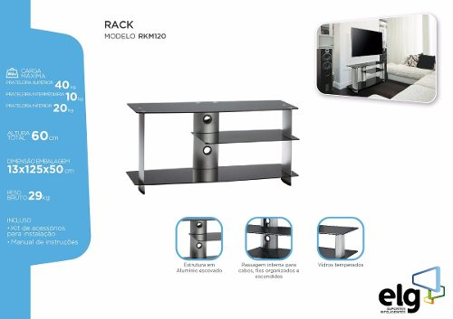 Rack para Sala de TV e Home Theater RKM120 ELG  - Central Suportes