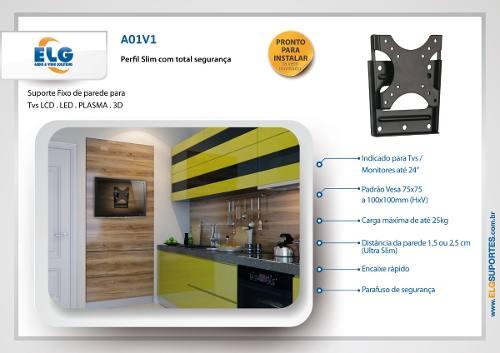 Suporte Para Tv e Monitor 15 a 29 LCD LED Fixo de Parede A01V1 ELG  - Central Suportes