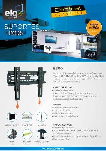 Suporte para Tv de Parede Fixo LCD LED PLASMA de 15 a 32 E200 ELG  - Central Suportes