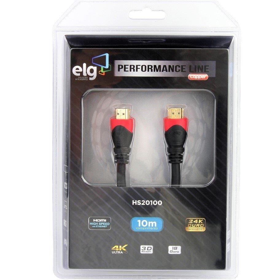 Cabo HDMI 10m Versão 2.0 High Speed C/ Ethernet 3D 4K HS20100 ELG  - Central Suportes