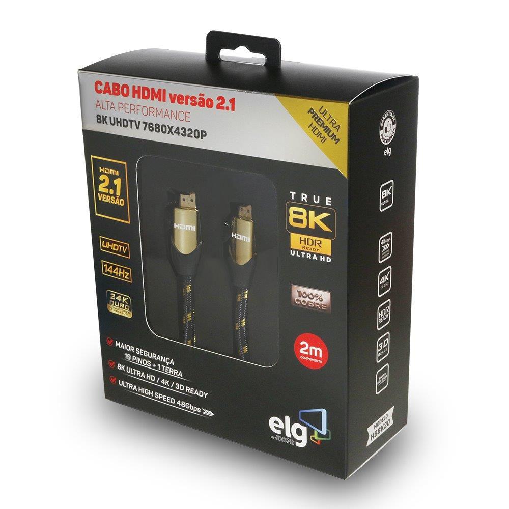 Cabo HDMI 2.1 8K Ultra High Speed Ethernet 2 metros HS8K20 ELG  - Central Suportes