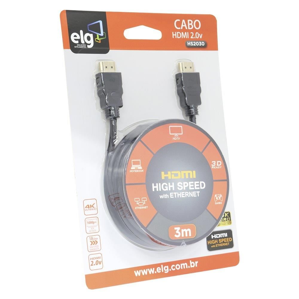 Cabo HDMI 3m Versão 2.0 High Speed C/ Ethernet 3D 4K HS2030 ELG  - Central Suportes