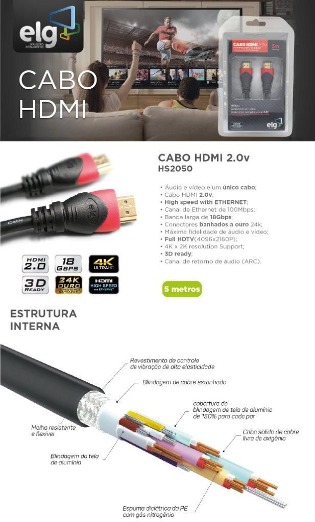Cabo HDMI 5m Versão 2.0 High Speed C/ Ethernet 3D 4K HS2050 ELG  - Central Suportes