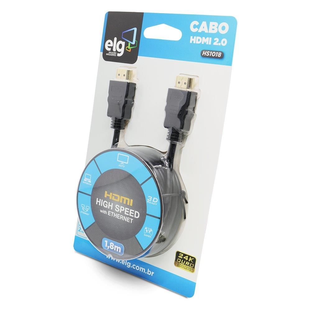 Cabo HDMI 1,8m Versão 2.0 High Speed C/ Ethernet 3D 4K HS1018 ELG - Central Suportes