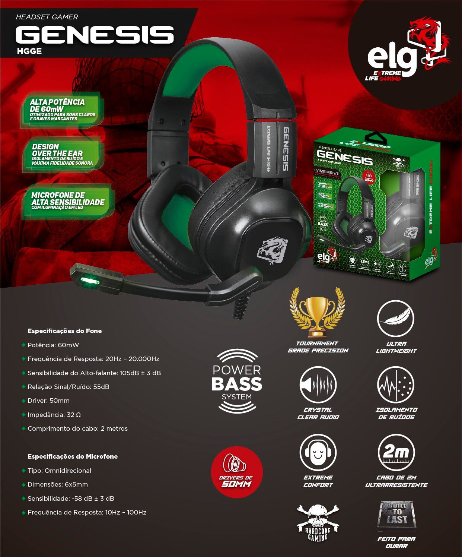 Headset Gamer Genesis com Microfone Preto e Verde HGGE ELG  - Central Suportes