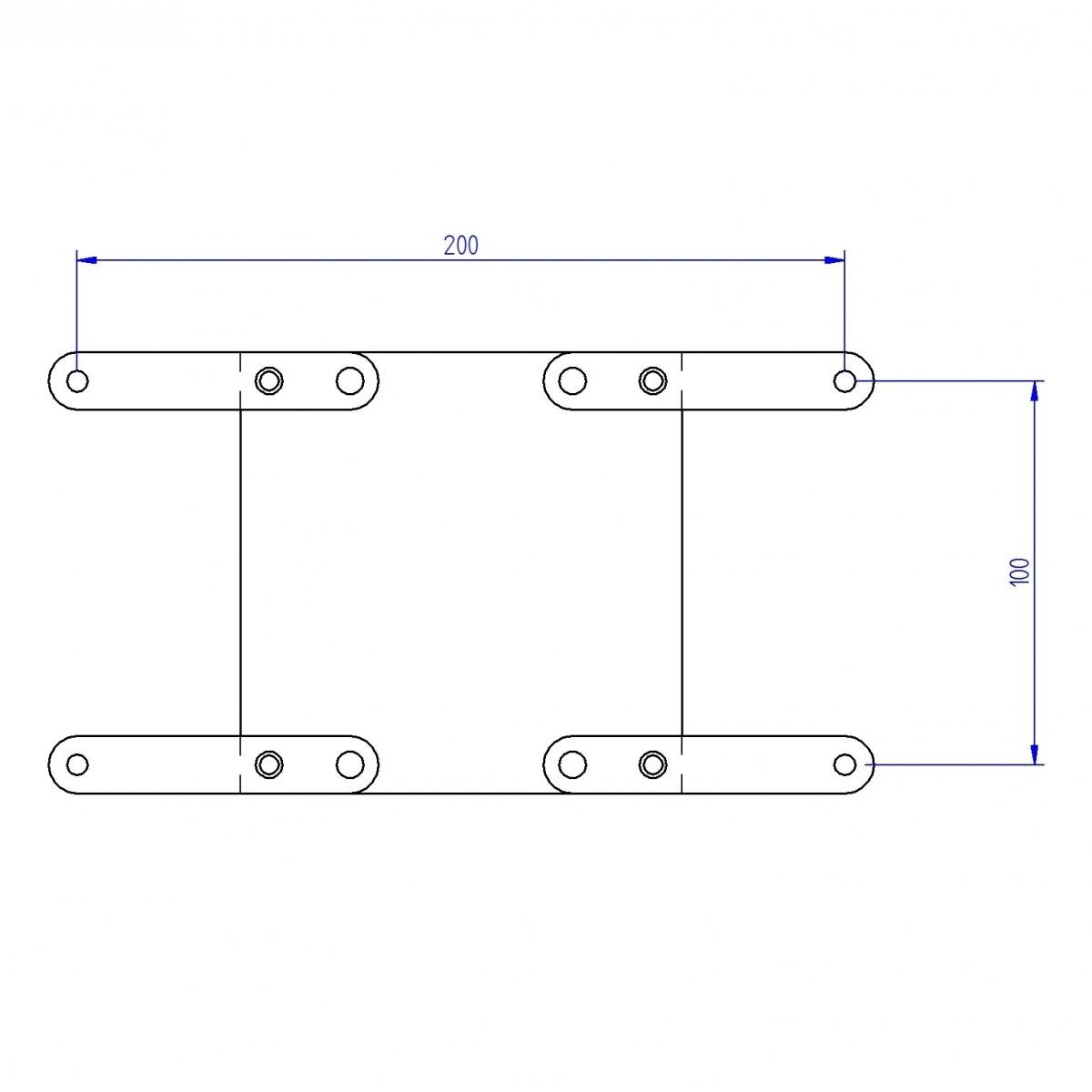 Kit Extensor VESA 200x100 e 200x200 - Adaptador VESA EXT200  - Central Suportes