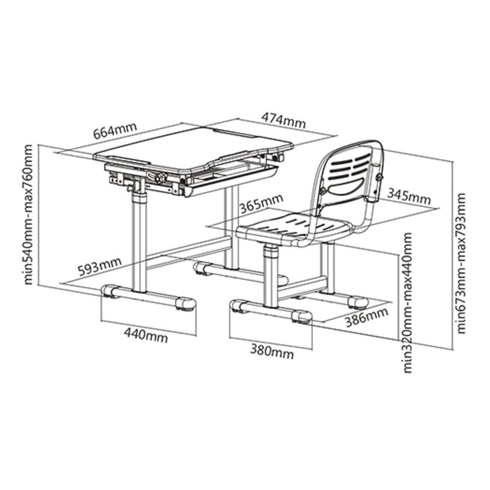 Mesa Infantil de estudo e desenho com Cadeira B201 ELG Rosa  - Central Suportes