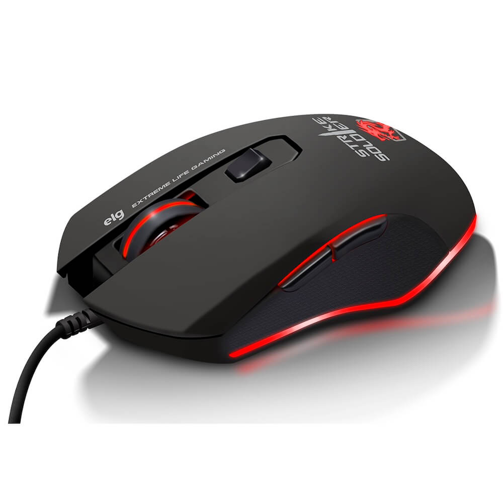 Mouse Gamer Striker Soldier Led 6 Botões 4800 DPI MGSS ELG  - Central Suportes