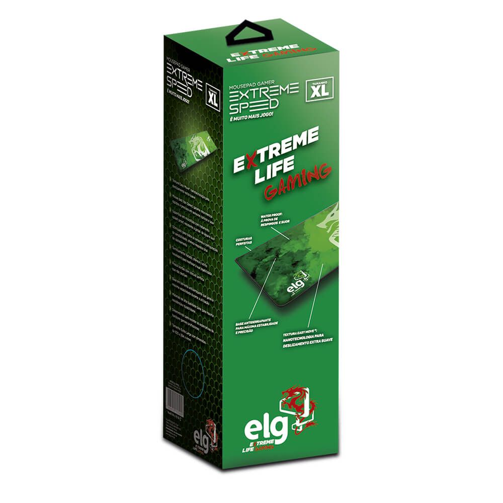 Mouse Pad Gamer Grande Extreme Speed 92 x 29cm Verde MPES ELG  - Central Suportes