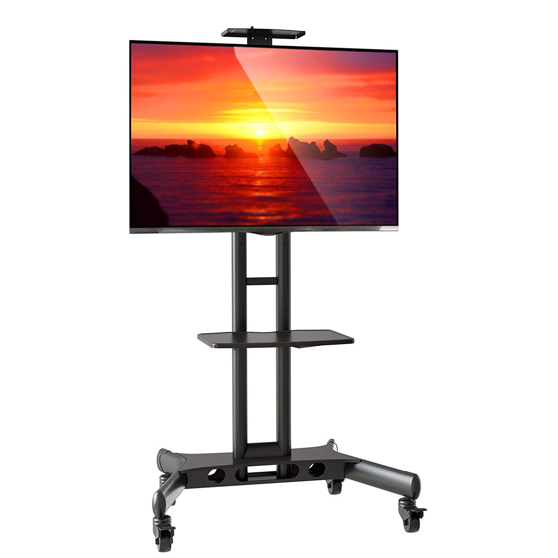 Pedestal para TV de 32 a 75 Suporte Videoconferência com Rodízios CTS55 NB  - Central Suportes