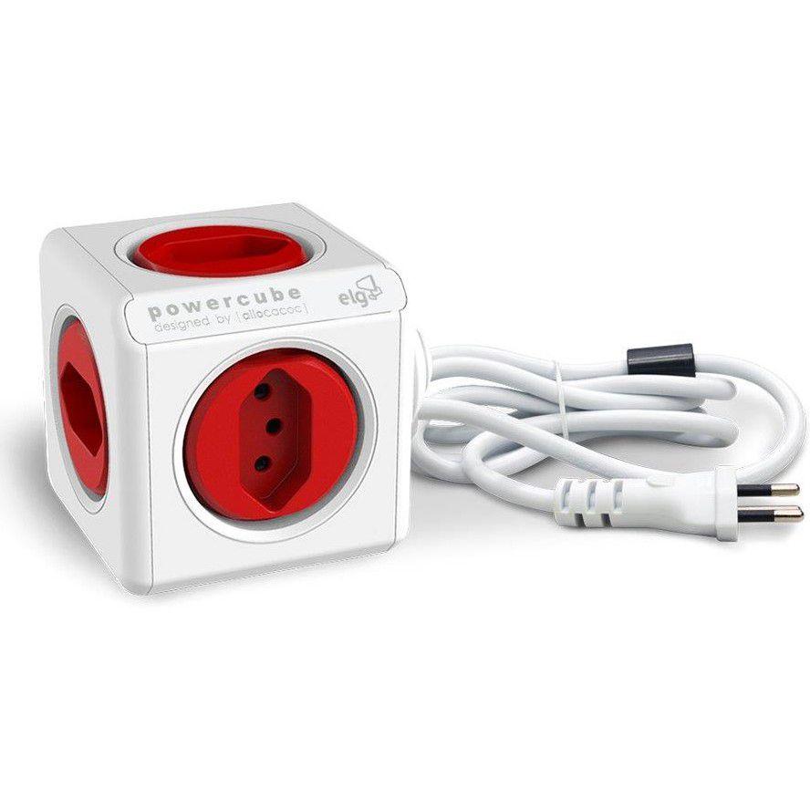 PowerCube Extended PWC-X5/3M ELG Vermelho 5 Tomadas com Cabo 3m  - Central Suportes