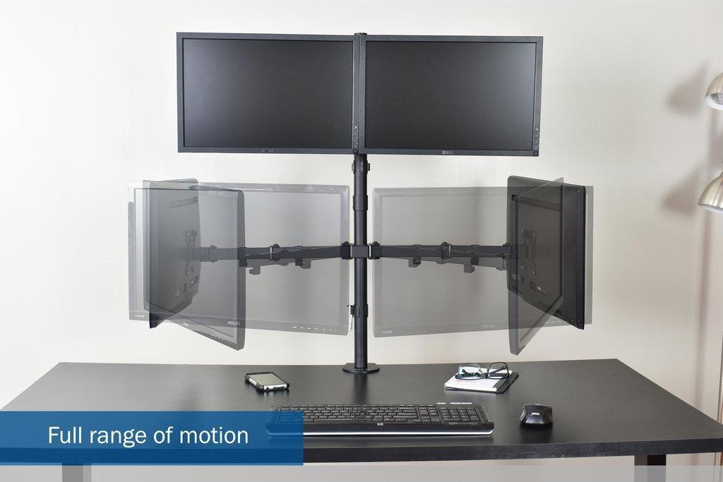 Suporte 4 Monitores com Morsa V48C Central Suportes  - Central Suportes