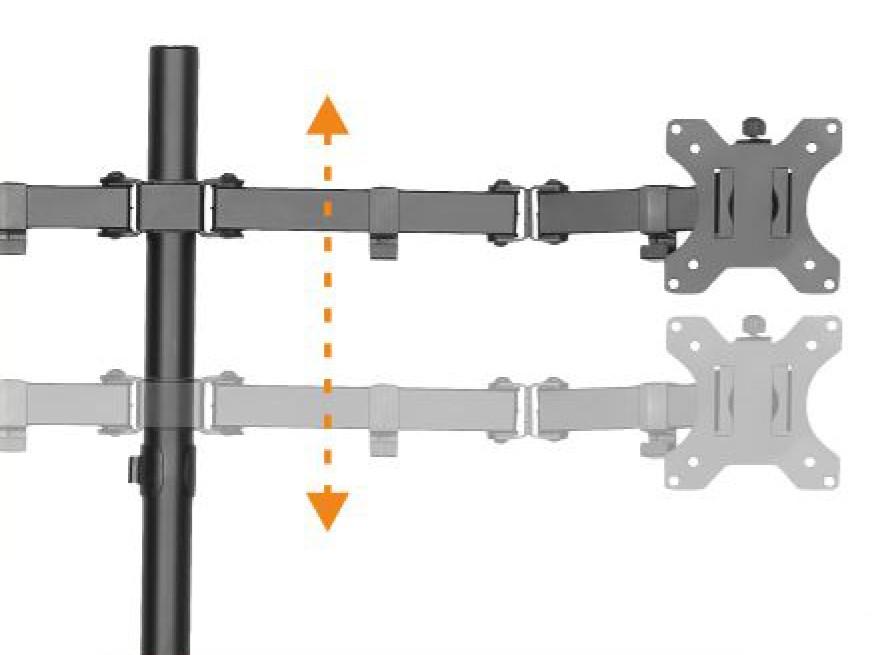 Suporte Articulado Mesa 2 Monitores 15 a 32 Ajuste de Altura e convergência T1224N ELG  - Central Suportes