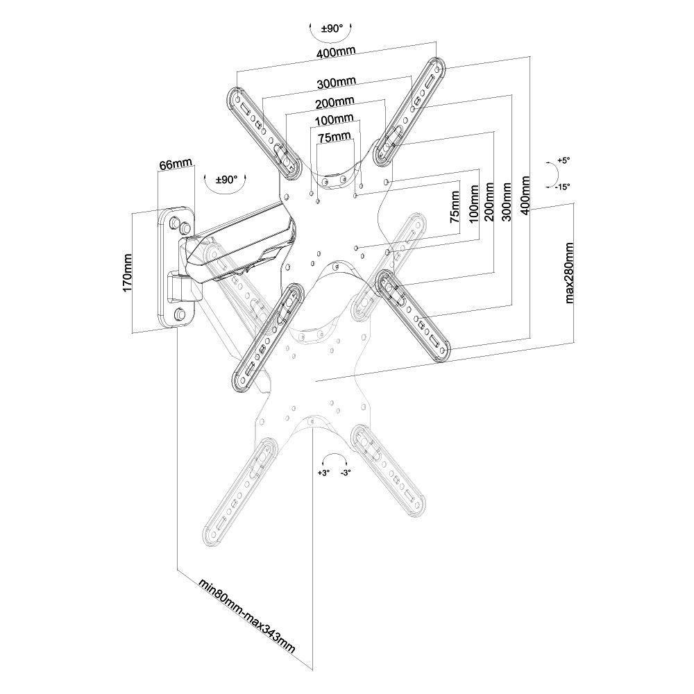 Suporte Articulado para TV 32 a 55 Ajuste de Altura F350N ELG  - Central Suportes