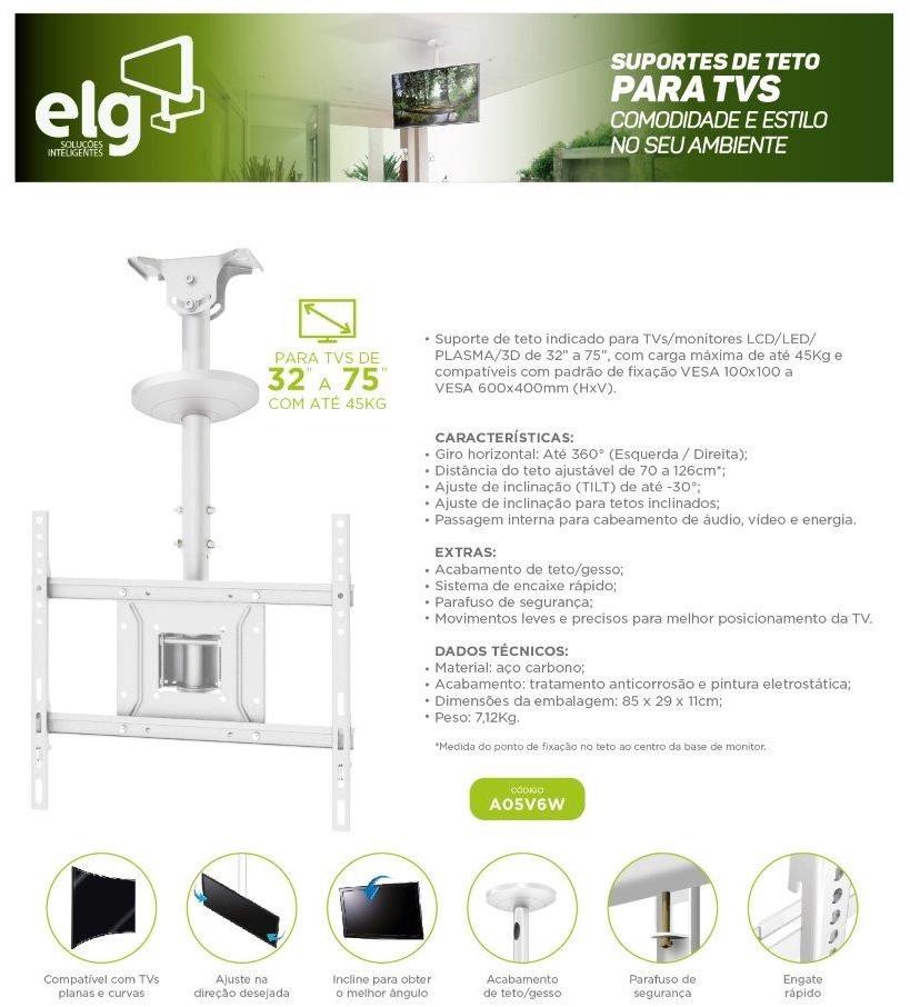 Suporte de Teto para Tv 26 a 75 Giratório A05v6 Branco ELG  - Central Suportes