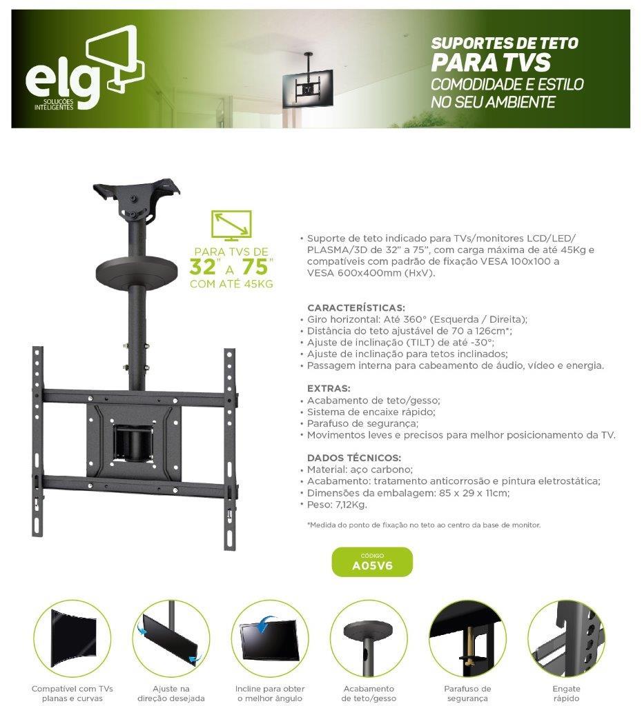 Suporte de Teto para TV 26 A 75 Giratório A05v6 Preto ELG  - Central Suportes